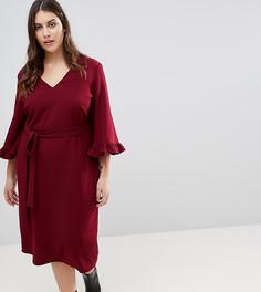 Платье-кимоно миди с оборками на рукавах ASOS CURVE - Красный