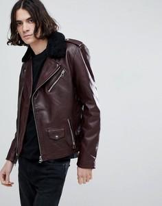 Кожаная байкерская куртка со съемным воротником Goosecraft Idaho - Красный