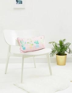 Чехол для подушки с пастельным принтом кактусов Sass & Belle - Мульти