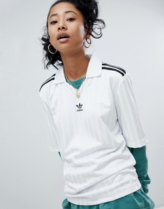 Белая футболка с тремя полосами Adidas Originals adicolor - Белый