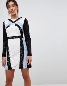 Кружевное платье-футляр с контрастными вставками Morgan - Мульти