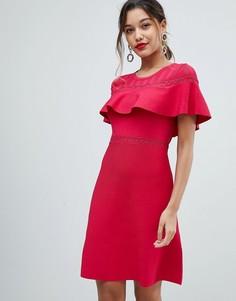 Облегающее платье с оборкой Morgan - Красный