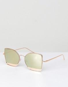 Солнцезащитные очки кошачий глаз с зеркальными элементами ASOS - Золотой