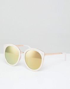 Круглые солнцезащитные oversize-очки в стиле преппи с зеркальными стеклами цвета розового золота ASOS - Розовый