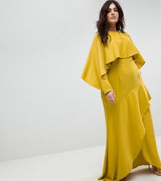 Платье макси с кроп-топом, длинными рукавами и разрезом на юбке ASOS CURVE - Мульти