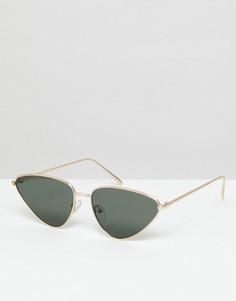 Солнцезащитные очки кошачий глаз в металлической оправе ASOS - Золотой