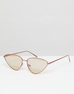 Солнцезащитные очки кошачий глаз в металлической оправе ASOS - Коричневый