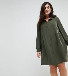 Свободное платье-рубашка мини ASOS CURVE - Зеленый