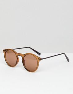 Коричневые круглые солнцезащитные очки с металлическими дужками ASOS - Мульти