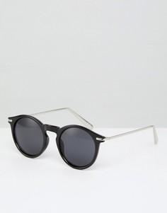 Черные блестящие круглые солнцезащитные очки с металлическими дужками ASOS - Черный