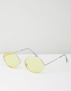 Металлические солнцезащитные очки в стиле 90-х с желтыми овальными стеклами ASOS - Золотой