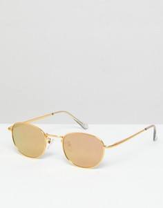 Овальные солнцезащитные очки в стиле 90-х с позолотой 9 кт и зеркальными стеклами ASOS - Золотой