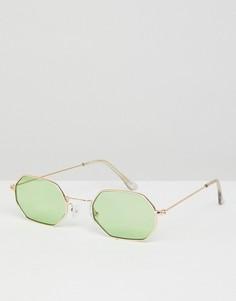Солнцезащитные очки в стиле 90-х с шестиугольной оправой и зелеными стеклами ASOS - Золотой