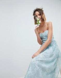 Платье-бандо макси с прозрачными кружевными вставками ASOS DESIGN Bridesmaid - Зеленый
