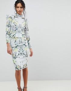 Платье-футляр с длинными рукавами и оборками Hope & Ivy - Мульти