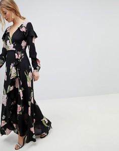 Платье макси с запахом, оборками и цветочным принтом ASOS - Мульти