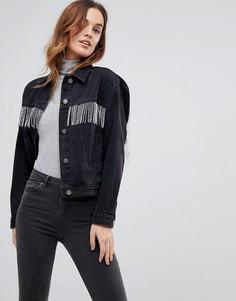 Черная джинсовая куртка с бисерной бахромой ASOS - Черный