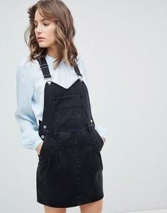 Черное джинсовое выбеленное платье-комбинезон ASOS - Черный