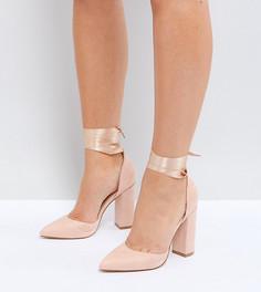 Туфли на блочном каблуке для широкой стопы Truffle Collection - Бежевый