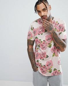 Длинная футболка с принтом роз ASOS DESIGN - Розовый