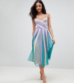 Приталенное платье миди со свободной юбкой в стиле колор блок ASOS TALL - Мульти