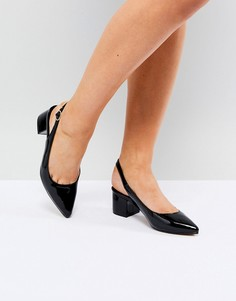 Туфли на среднем каблуке с ремешком через пятку Truffle Collection - Черный