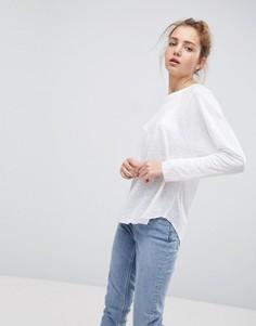 Льняная футболка с длинными рукавами ASOS - Белый