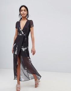 Платье макси с цветочным принтом Hope & Ivy - Синий