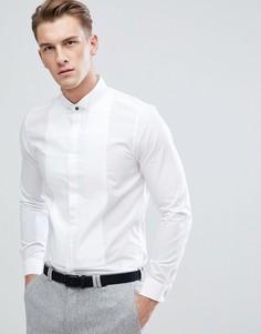 Белая приталенная рубашка со складками Burton Menswear - Белый