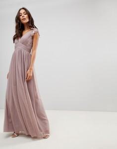 Кружевное платье макси Little Mistress - Серый