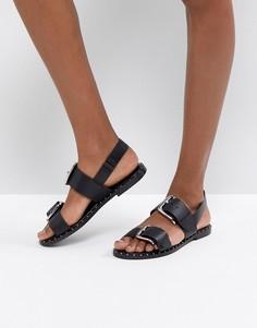 Кожаные сандалии с заклепками ASOS FOR ONCE - Черный