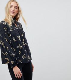 Блузка с цветочным принтом и высоким воротником Influence Tall - Черный