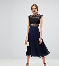 Платье миди с кружевом и оборками на рукавах ASOS TALL - Синий