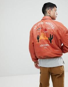 Красная университетская oversize-куртка с вышивкой ASOS - Красный