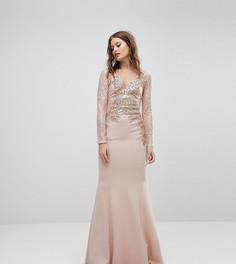 Платье макси с кружевом и вышивкой Lipsy - Розовый