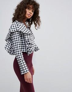 Блузка в клеточку с оборками Neon Rose - Черный
