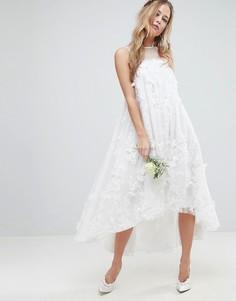 Платье-трапеция миди с 3D-отделкой ASOS EDITION - Белый