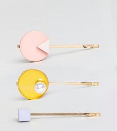 3 заколки для волос с отделкой дисками ASOS - Золотой