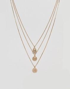 Ярусное ожерелье в винтажном стиле с подвесками ASOS - Золотой