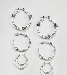 Набор из 3 пар сережек-колец (с витой отделкой / с шарами) ASOS - Серебряный