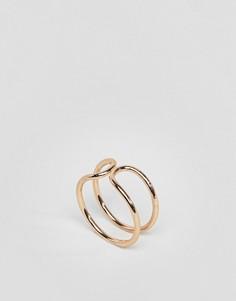 Кольцо с двойным дизайном ASOS - Золотой
