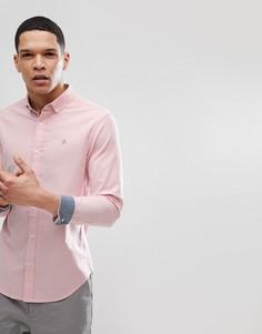 Розовая облегающая оксфордская рубашка с воротником на пуговицах и логотипом Original Penguin - Розовый