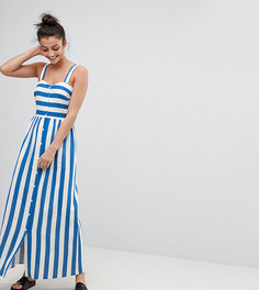 Платье макси в полоску с добавлением льна на пуговицах ASOS TALL - Мульти