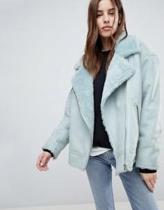 Длинная куртка с меховым воротником Weekday - Синий