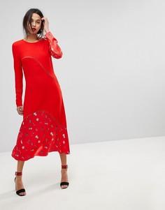 Платье колор блок с цветочным принтом Max&Co - Красный