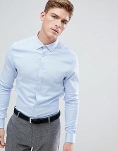 Узкая строгая рубашка с узором в елочку и двойными манжетами ASOS - Синий