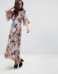 Платье длиной 3/4 с запахом и принтом Brave Soul Santini - Оранжевый