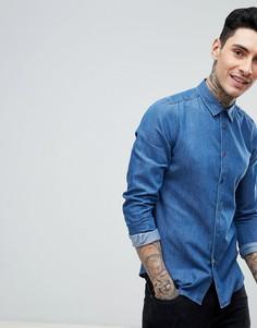 Синяя приталенная рубашка из ткани шамбре PS Paul Smith - Синий