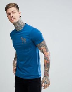 Сине-зеленая футболка узкого кроя с принтом зебры PS Paul Smith - Синий