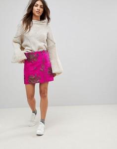 Мини-юбка с вышивкой и молнией Free People Moving On - Розовый